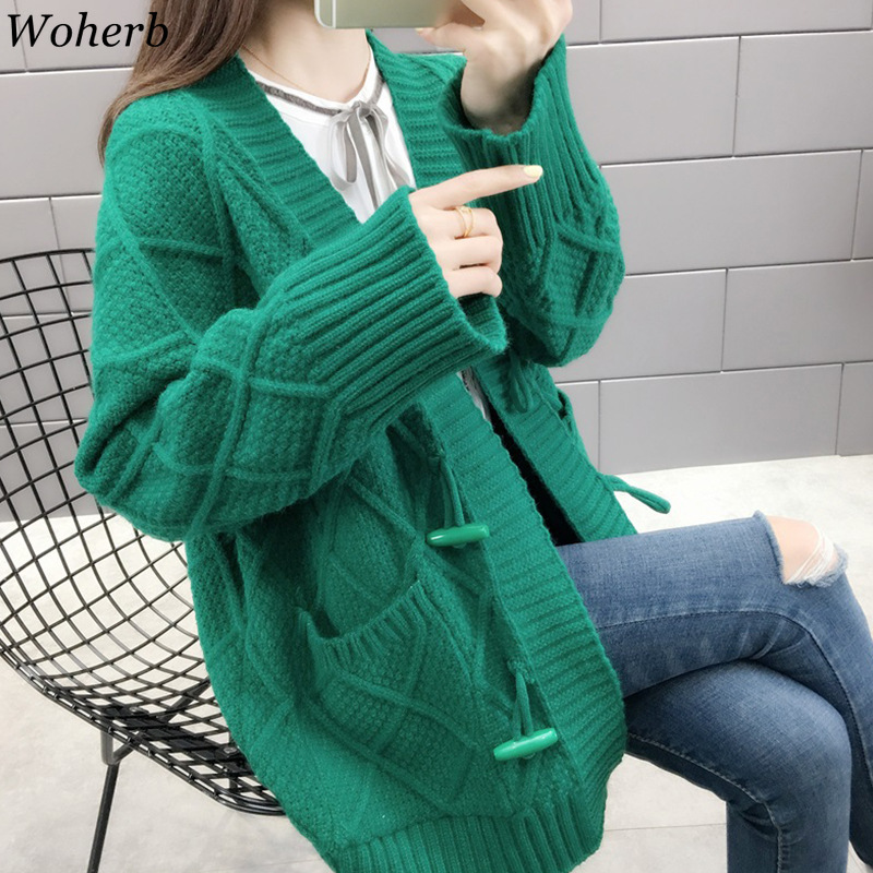 Woherb Autumn Winter Cardigan Women Casual Knitwear Twist Knitted Sweater Jacket Korean Horn Buckle Cardigans Female Jumper Coat