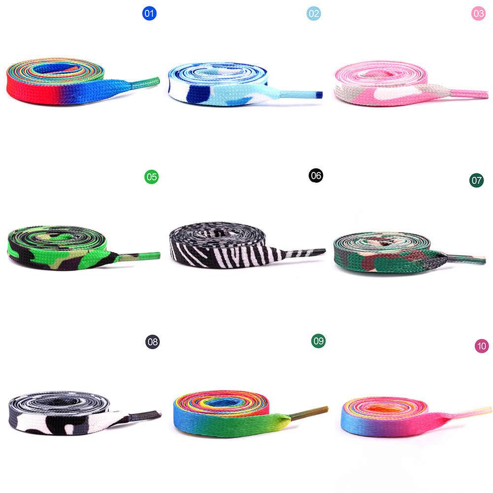 Hot Sales Rainbow Gradient Gedrukt Schoenveter Decoratie Patroon Gekleurde Platte Veters Engeland Laarzen Schoen Strings 80/100/120 Cm