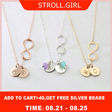 StrollGirl Personalized Infinity Necklace 925 Sterling Silver Engraved Mother Necklaces Custom Jewelry for Mother's Day Gift personalized necklaces 925 sterling silver engraved necklaces diy personalized jewelry family children mother pendants necklace