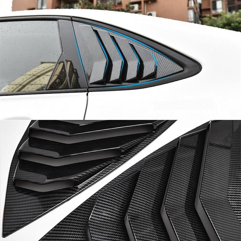 CEYUSOT FOR Rear Window Triangle Shutters Cover Trim VW Jetta 2 PCS ABS Carbon Fiber Spoiler 2019 2020 Jetta Vw Car Accessories