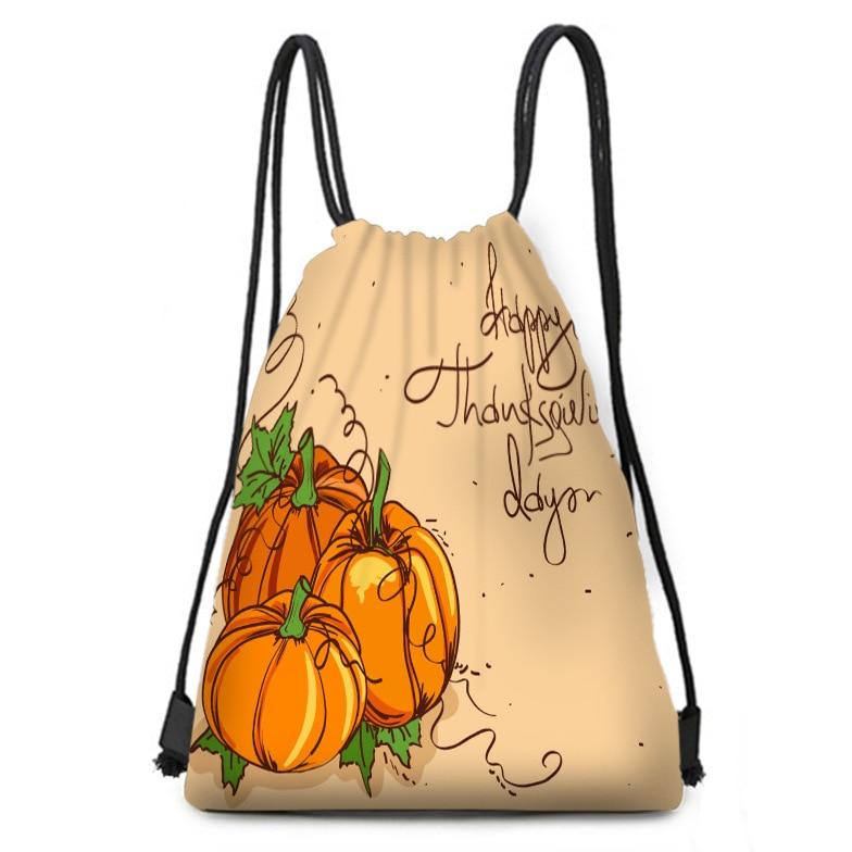 Pumpkin Head Linen Bag Orange Drawstring Binding Christmas Gift Bag Linen Bag