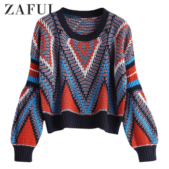 ZAFUL Women Autumn Fashion Loose Geometric Graphic Sweater Long Sleeve Crew Neck Multicolor Patterned Pullovers Casual Cotton фото