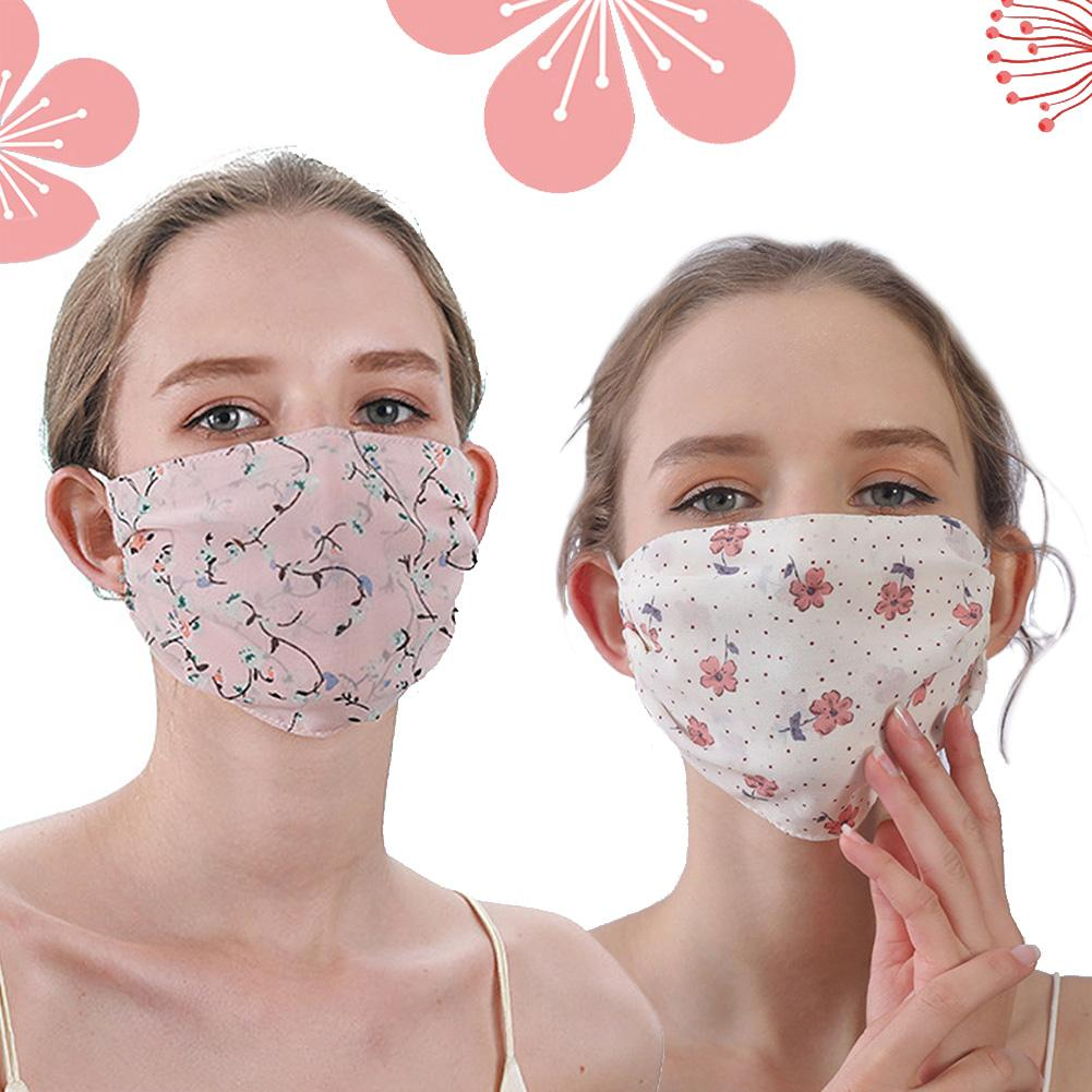 Women Floral Print Double Layer Breathable Anti-Droplet Dustproof Mouth Mask Wind And Dust Resistance Against Viruses