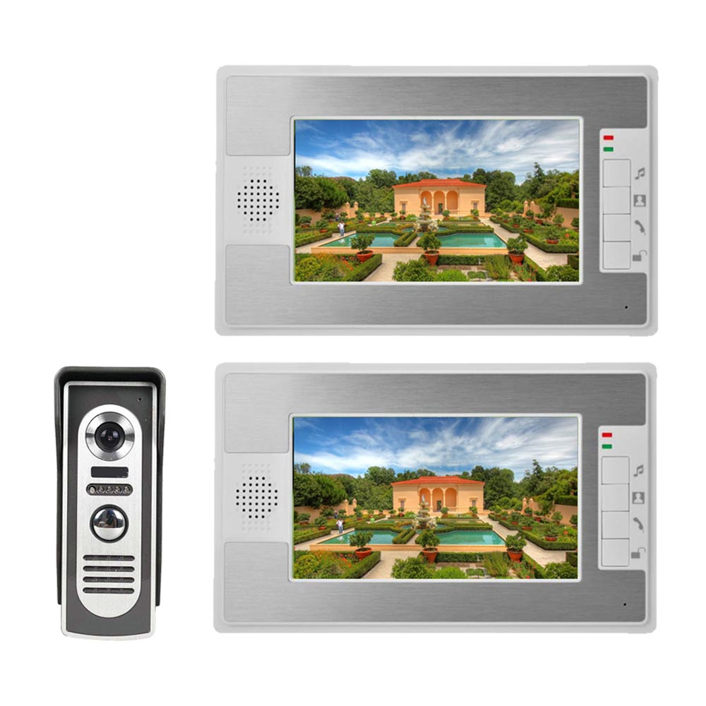 2 Monitor Visual Intercom Doorbell 7'' TFT LCD Wired Video Door Phone System 1000 TVL Outdoor IR-CUT Camera Support Unlock