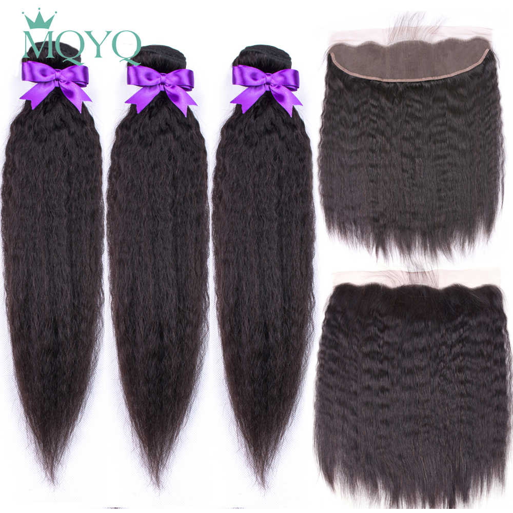 MQYQ Kinky Straight Peruvian Human Hair Weave Bundles with Lace Closure Non Remy Hair Extension Bundles With Frontal Closure