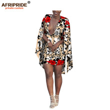 2019 african summer mini dress for women AFRIPRIDE ankara print long cloak sleeve length casual cotton A1825066