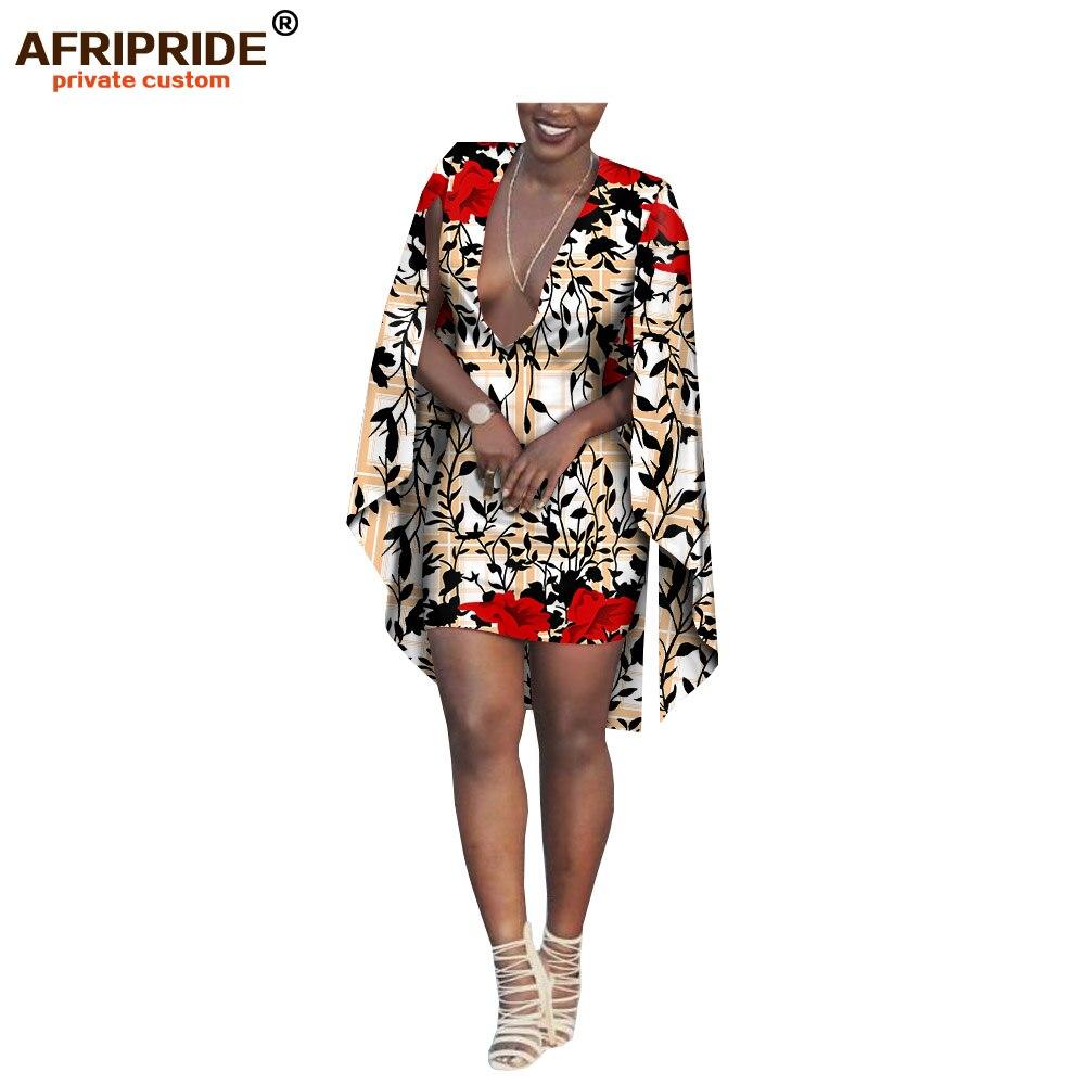 2019 africano di estate mini vestito per le donne AFRIPRIDE ankara stampa lungo mantello del manicotto del mini vestito delle donne del cotone casuale A1825066-in Abiti da Abbigliamento da donna su  Gruppo 1