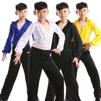 kids morden shirt long sleeve dress shirts for boys dance wear latin dancing shirts tango mens lace ballroom ragazzo costumes