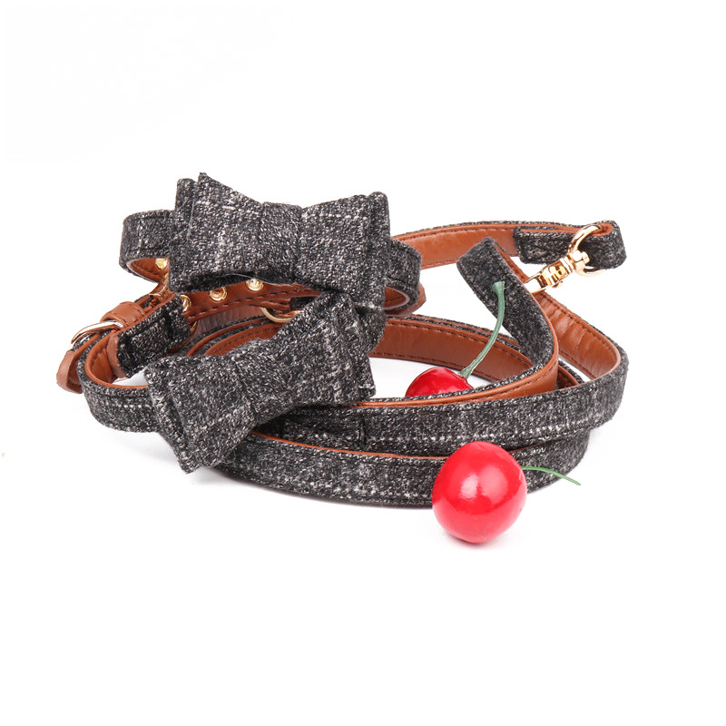 Amin Lattice Currently Available Origional Small And Medium-sized Dogs Bow Pet Collar Pet Supplies Hand Holding Rope Manufacture