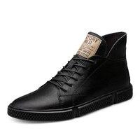 Mode Männer Casual Schuhe High Top Echtes Leder Weichen männer Wohnungen Chaussure Homme Herbst Retro Geschnitzte Britischen Kleid Schuhe %