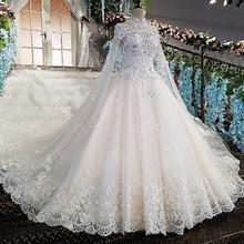 AIJINGYU 2021 فساتين الزفاف الهندي العباءات كرة شفافة حجم كبير Bridals بيع الأصلي مثير مخازن فستان الزفاف مسلم