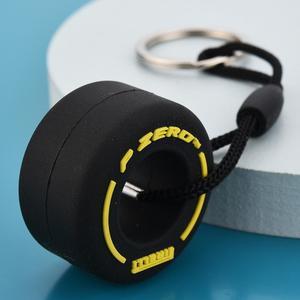 Image 2 - סימולציה קריקטורה קטן צמיג Keychain PVC רך גומי מפתח טבעת רכב תליית קישוטי קישוט אביזרי פנים