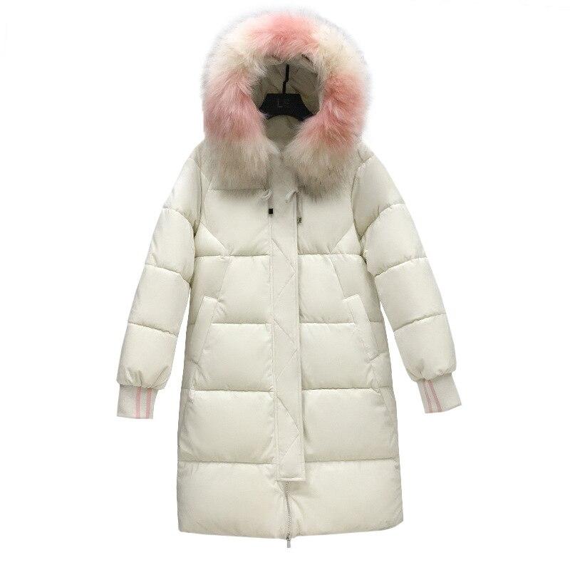 2019 nueva Parkas de invierno para mujer, Chaqueta de algodón de terciopelo dorado, abrigo de invierno con capucha y Cuello de piel para mujer, talla grande g586 - 4