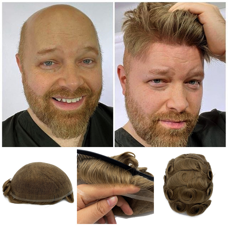 French Lace Brazilian Human Hair Men Toupee Natural Straight Hair Wigs For Men