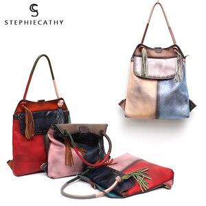 Image 5 - Sac à dos en cuir véritable pour femmes, grand sac à bandoulière à rabat, Style Vintage, Patchwork, sac à dos avec pompon, décontracté