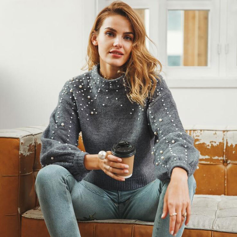 CHRLEISURE Pearl inlay Knitted sweaters woman Sexy Short paragraph Autumn Winter Large size warm sweaters Lantern sleeve in Pullovers from Women 39 s Clothing