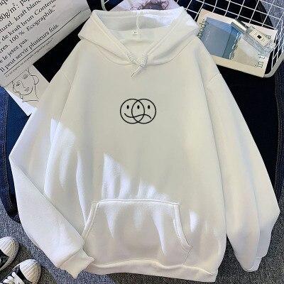 Korean Streetwear Sweatshirt Men Women Casual Pullover Hip Hop Long Sleeve Smile Sad Face Line Print Sport swear Tops Hoodies 11