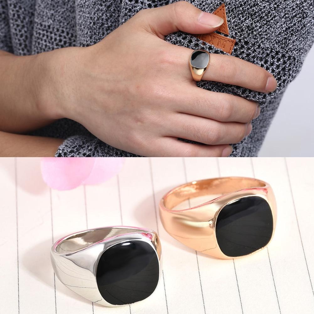 Панк мужские серебряные кольца из розового золота черные мужские модные свадебные украшения квадратные черные Винтажные Ювелирные издели...