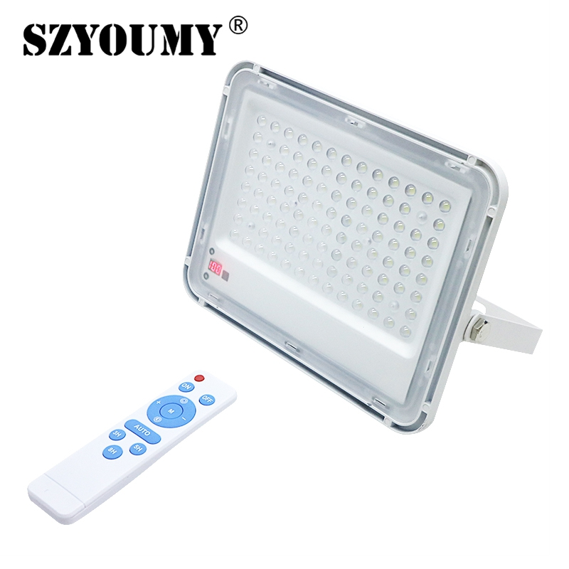 SZYOUMY LED Flood Light With Power Display 60W 150W Light Sensor Floodlight Solar Garden Outdoor Lighting With Remote Control
