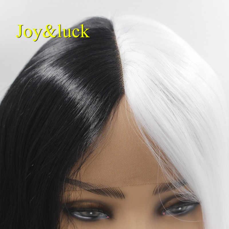Vreugde & geluk Lange Lace Front Pruik Natuurlijk Golvend Synthetische Cosplay Pruiken Half Wit Half Zwarte Kleur 28inch Party custome Pruiken voor Vrouwen