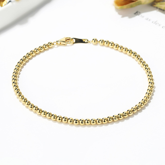 Classic Delicate 18K Solid Real Genuine Gold AU750 Bead Bracelets Bangles for Women Female Upscale Fancy Wedding Office Jewelry 2