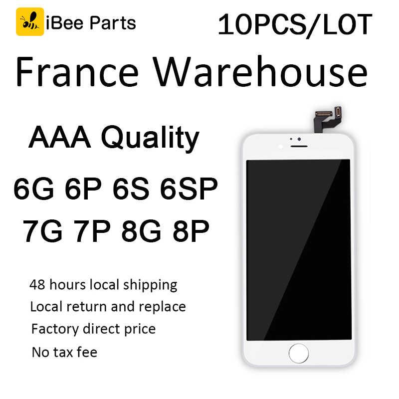 IBee a 10 Uds Francia almacén local stock para iPhone 6 iPhone 6 Plus, 6S 6S más 7 7 Plus 8 8 Plus de Pantalla LCD de Pantalla