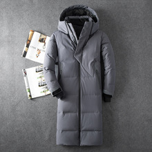 Mens Hooded Extra Long Duck Down Padded Jackets Man Thick Wi