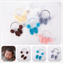 NewBorn Photography Props Hand Crochet Baby Slippers +Headset Set Photo Shoes Accessories E65D