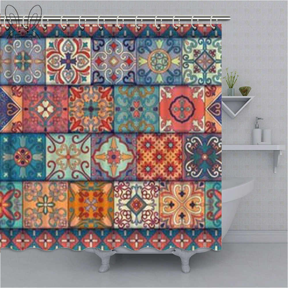 Aplysia โมร็อกโก Decor ผ้าม่านดอกไม้ที่มีสีสัน Patchwork กระเบื้องโมเสคเมดิเตอร์เรเนียนสแควร์ผ้าผ้าม่าน Home Decor