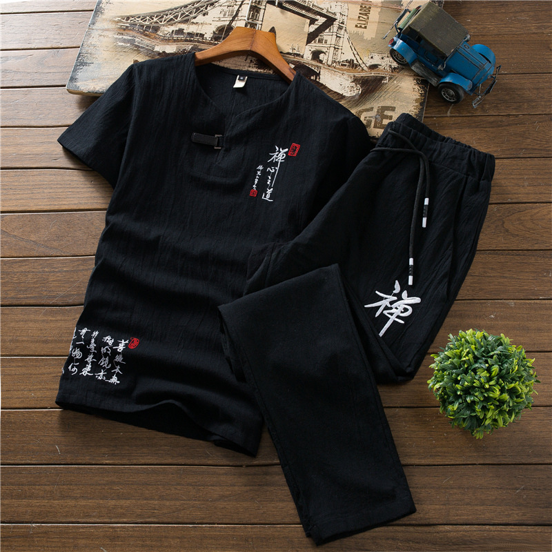 Chinese-style Summer Flax Set Men Casual Two-Piece Set Thin Cotton Linen Short Sleeve T-shirt + Large Size Trousers