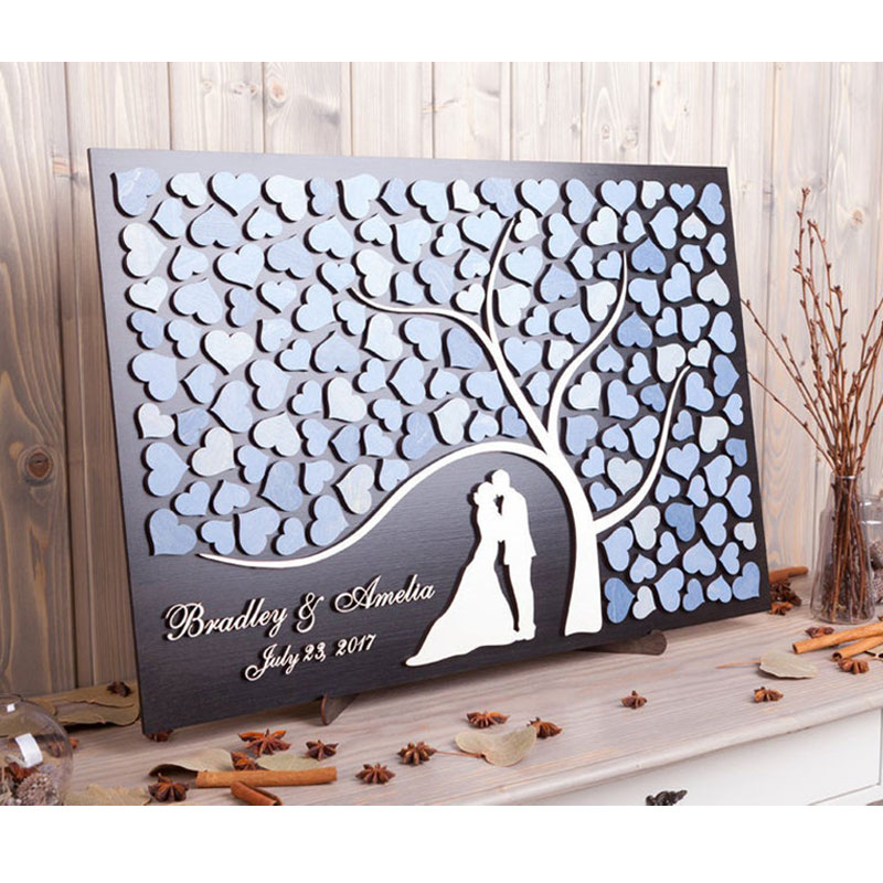 Personalized 3D Guest Book Alternative Wood Heart Wedding Guestbook Tree Of Life Silhouette Rustic Wedding Decor