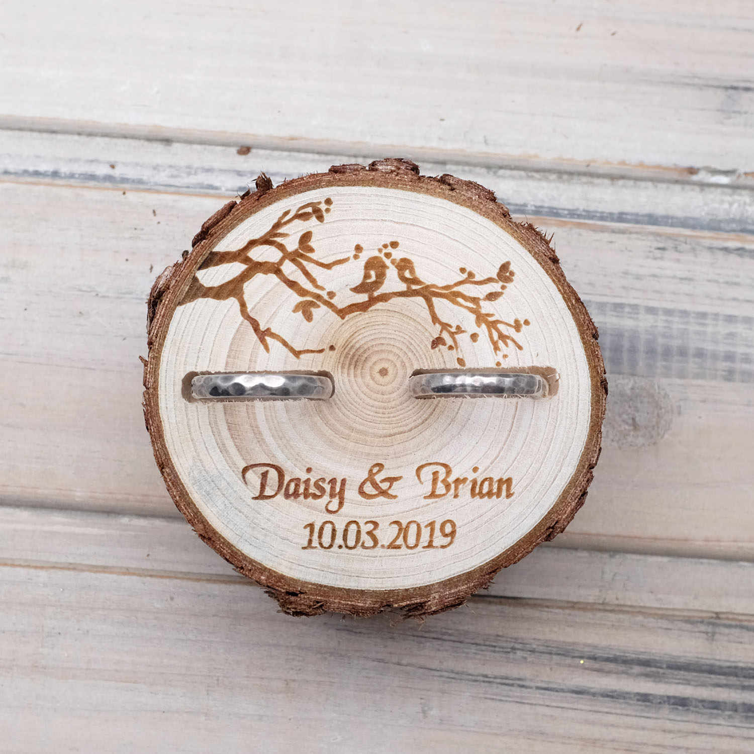 Personalized Wedding Gifts Ring Bearer Box Customized Rings Holder Nature Wood Slice Ring Box Rustic Wedding For Engagement