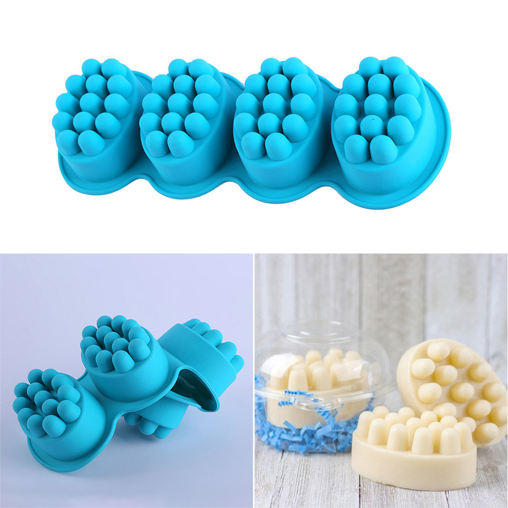 4 Cavity Silicone Soap Mold Creative 3D Handmade Molds For Soap Making Massage Craft Mould Soap Making For Bath Handmade Tools