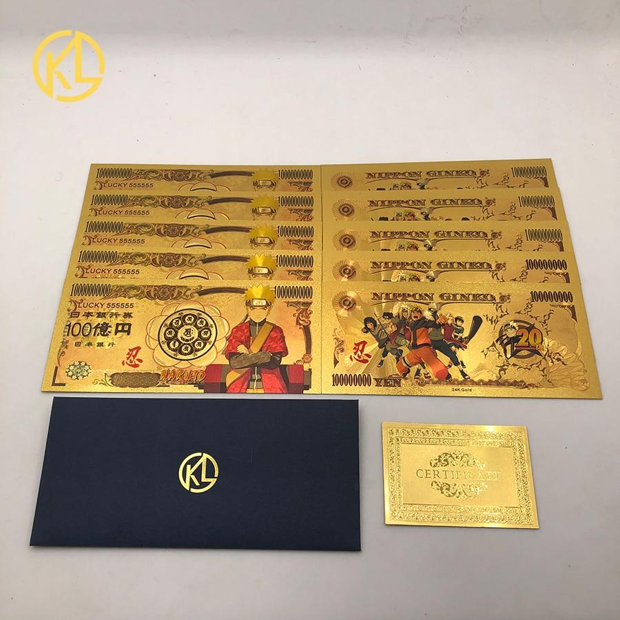 Novo 5 tipos japonês anime quente naruto ouro notas de plástico banco nota prop dinheiro billetes presente original para namorado dropshipp