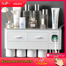 Magnetic Toothbrush Holder Adsorption Inverted Toothpaste Dispenser Wall Mount Makeup Storage Rack for Bathroom Accessories Set