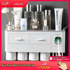 Image 1 - Suporte de escova de dentes magnética adsorção invertido dispensador creme dental montagem na parede rack armazenamento maquiagem para acessórios do banheiro conjunto
