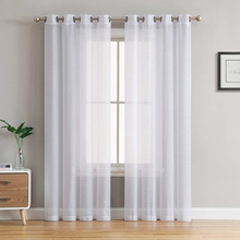 CDIY Solid White Tulle Curtains For Living Room Bedroom Kitchen Yarn Sheer Voile Window Treatments Finished
