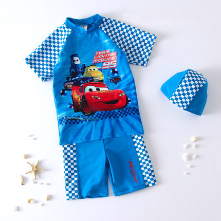 Cute Cartoon Children Two-piece Swimsuits AussieBum Car General Mobilization Pattern BOY'S Sun-resistant Swimwear