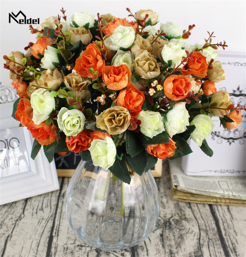 Meldel 21 Heads Artificial Flowers Shining Roses Small DIY Silk Flowers Red Roses Bride Bouquet Home Wedding Fake Flowers Decor