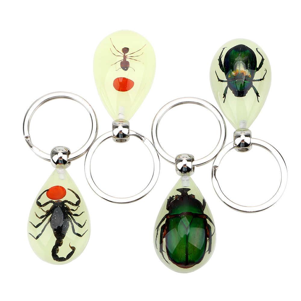 クリエイティブサソリキーホルダー発光人工琥珀昆虫カーサソリアリ琥珀キーホルダーカーアクセサリー