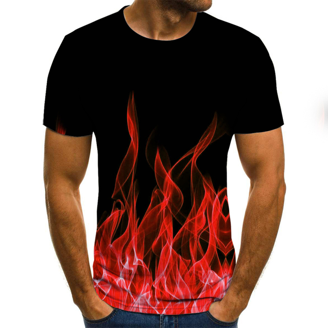 2020 new flame men's T-shirt summer fashion short-sleeved 3D round neck tops smoke element shirt trendy men's T-shirt 4