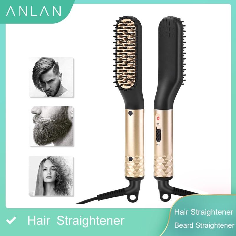 Расческа для волос ANLAN, многофункциональный выпрямитель для бороды, расческа для выпрямления волос, быстрое бигуди для бороды, стайлер для волос для мужчин Утюжки для выпрямления      АлиЭкспресс