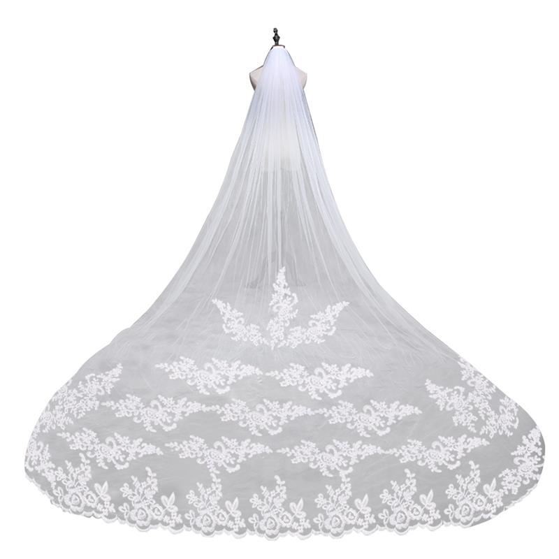 2.85m Lace Edge Bridal Wedding Veil Romantic Wedding Veil Mantilla With Comb For Bride Marriage Wedding Accessories