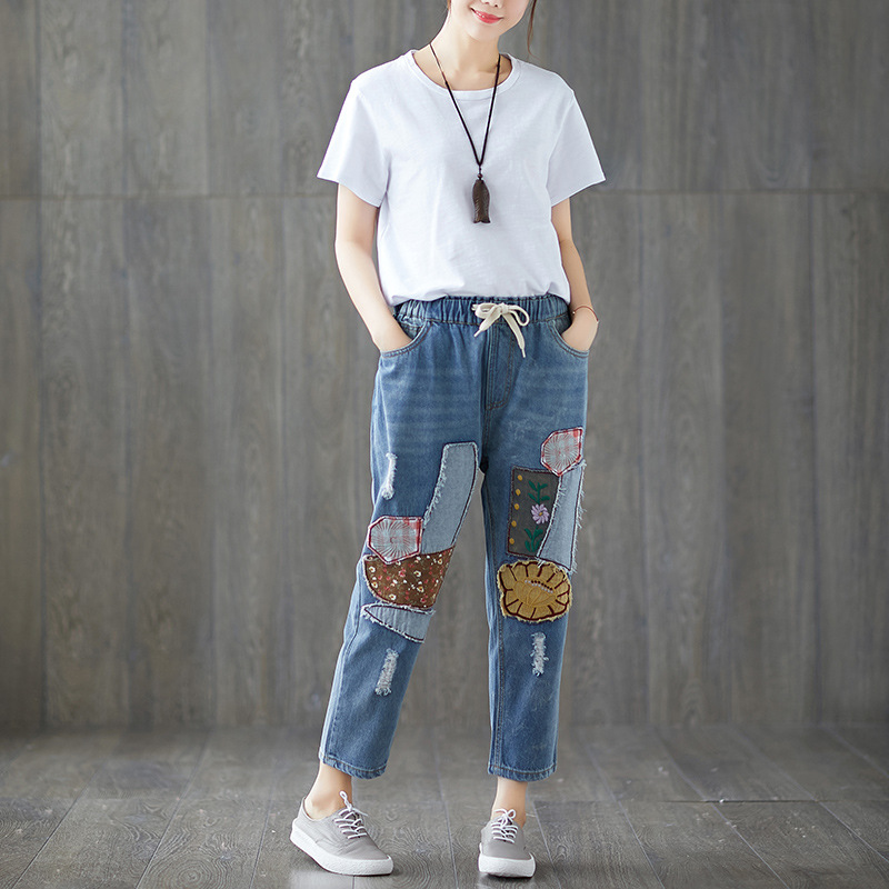 Photo Shoot 2018 Korean-style Literature And Art Large Size Embroidered Patch Jeans Loose-Fit Capri Pants
