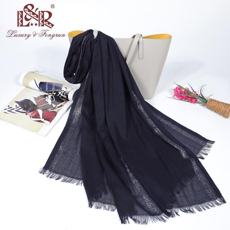 2020 Spring Foulard Women Hijab Scarf Solid Silk Scarf With Silver Metal Wire Women Cotton Hijab Taseel Shawl