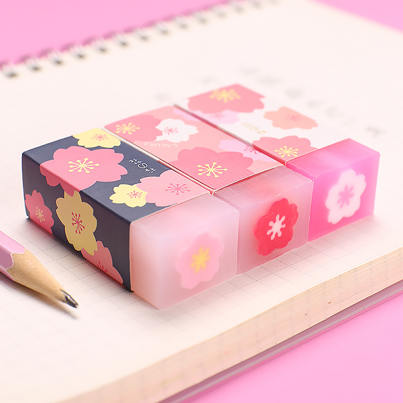1 Piece Cherry Bloss Pencil Erasers For Office School Creative Stationery Supplies Kawaii Kid Prize Writing Drawing Student Gift