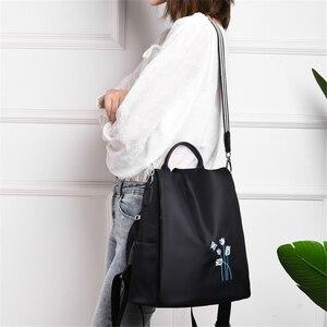Image 3 - Elegante Frauen Stickerei Rucksäcke Mochila Feminina 3 In 1 Licht Schule Tasche für Mädchen Rucksack Anti diebstahl Design Reise rucksack