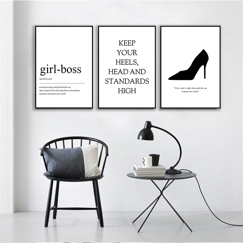 Nordic Black And White Girl-Boss High Heel Canvas Painting Poster Print Living Room Bedroom Wall Art Picture Home Decor No Frame
