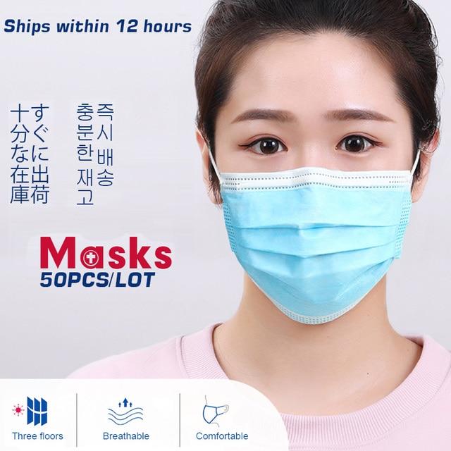 50-100 pcs Face Disposable Masks 3 Layers Dustproof Mask Facial Protective Cover Masks Anti-Dust Bacteria Proof Flu Face Masks