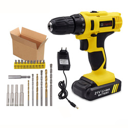 GOXAWEE 21V/12V Electric Screwdriver Cordless With Lithium Batteries Rechargeable Mini Drill 2-Speed Wireless Power Tool